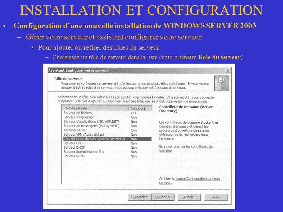 INSTALLATION ET CONFIGURATION