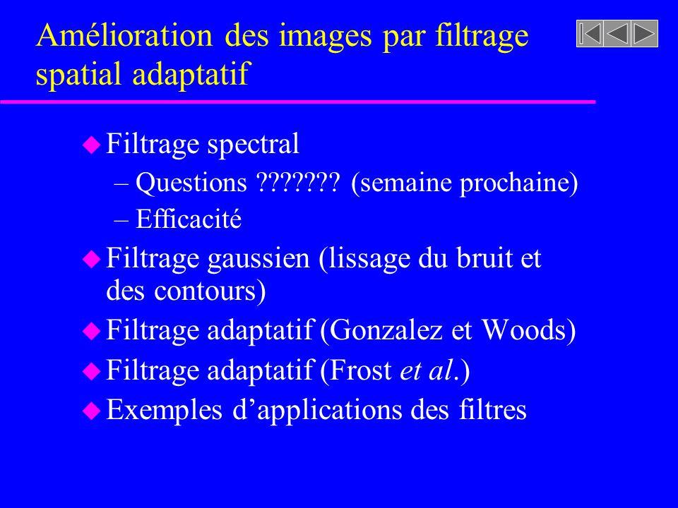 Amélioration des images par filtrage spatial adaptatif