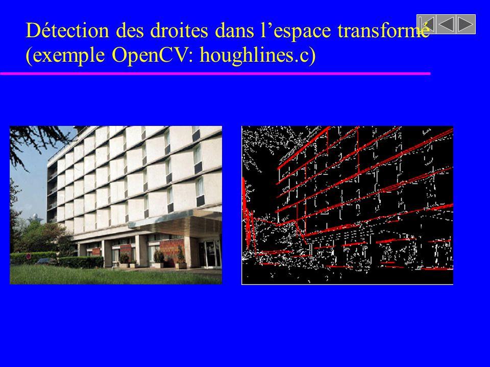 Détection des droites dans l'espace transformé (exemple OpenCV: houghlines.c)