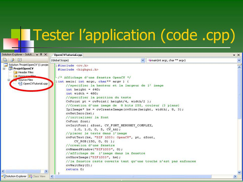 Tester l'application (code .cpp)