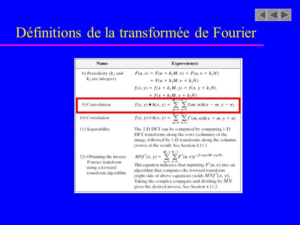 Définitions de la transformée de Fourier
