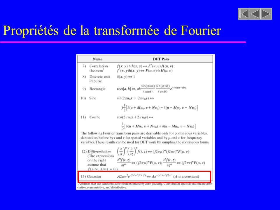 Propriétés de la transformée de Fourier