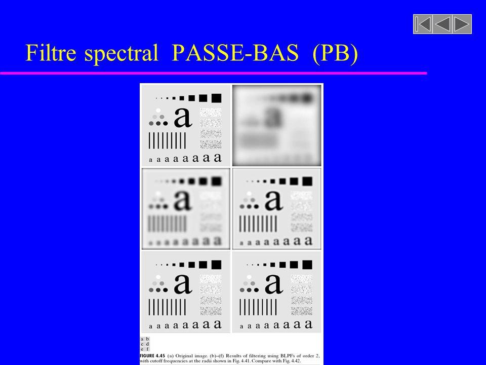 Filtre spectral PASSE-BAS (PB)