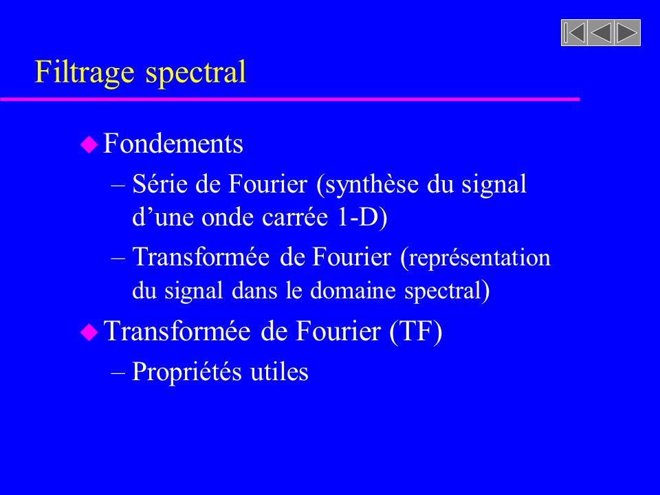Filtrage spectral Fondements Transformée de Fourier (TF)