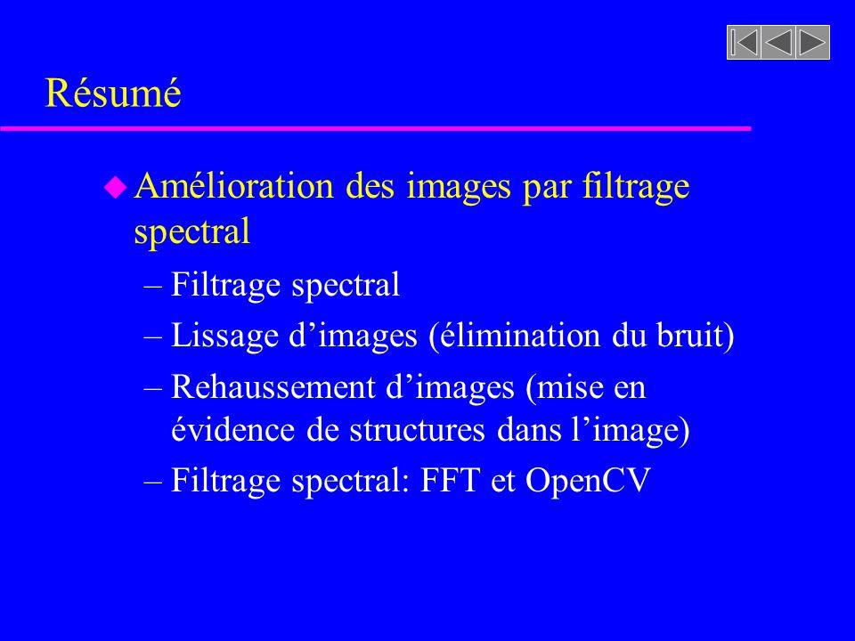 Résumé Amélioration des images par filtrage spectral Filtrage spectral