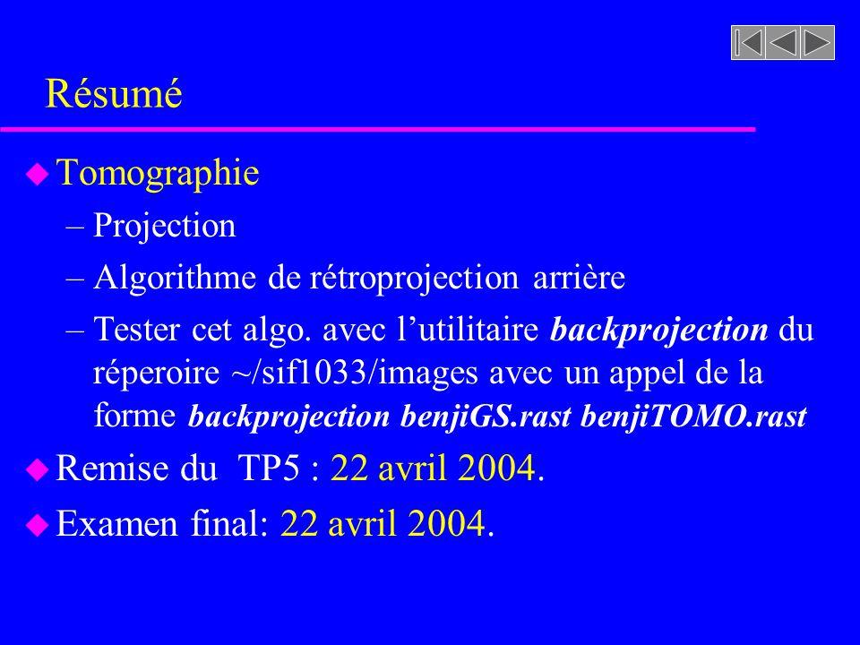 Résumé Tomographie Remise du TP5 : 22 avril 2004.