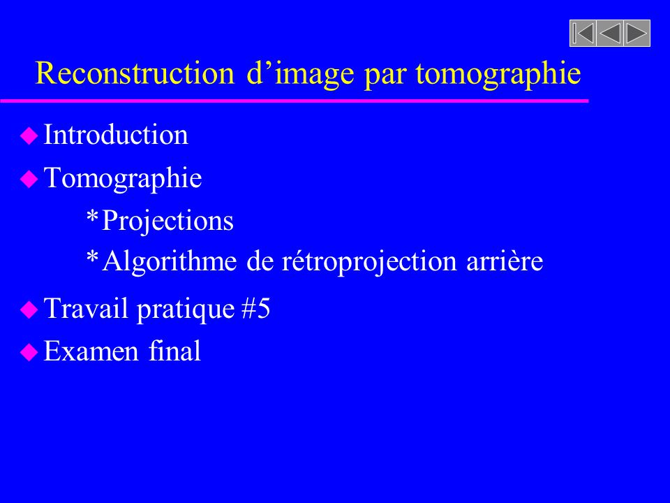 Reconstruction d'image par tomographie