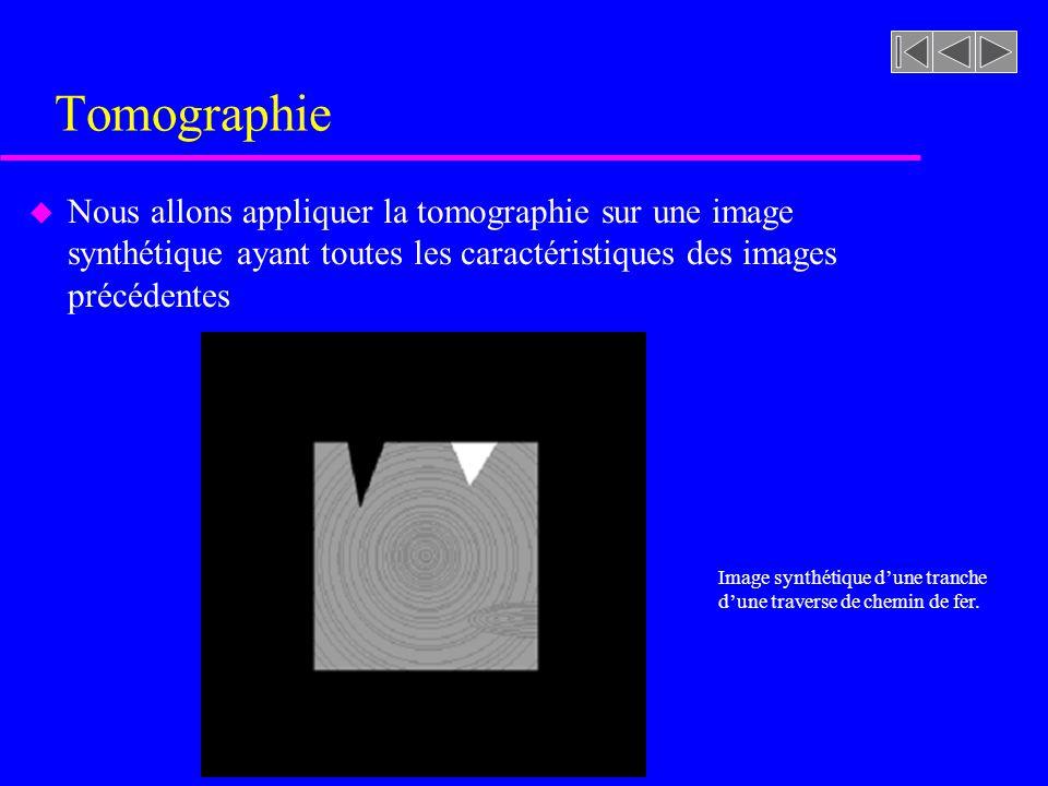Tomographie Nous allons appliquer la tomographie sur une image synthétique ayant toutes les caractéristiques des images précédentes.
