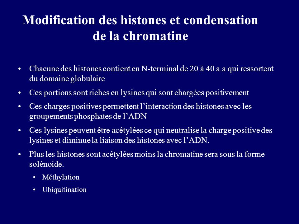 Modification des histones et condensation de la chromatine