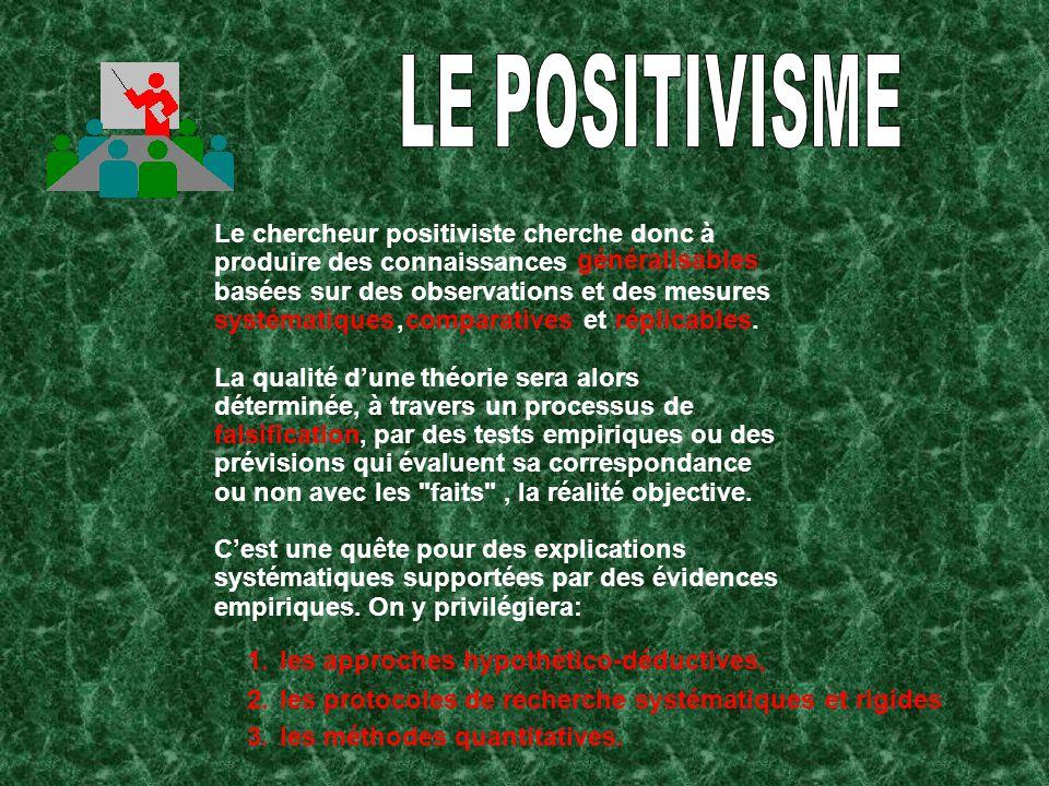 LE POSITIVISME Le chercheur positiviste cherche donc à