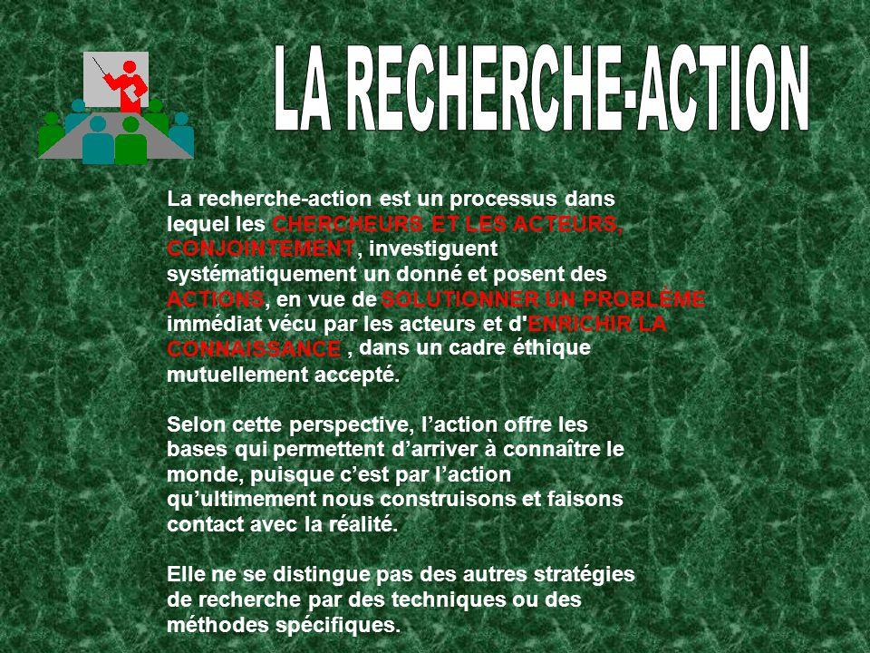 LA RECHERCHE-ACTION La recherche-action est un processus dans