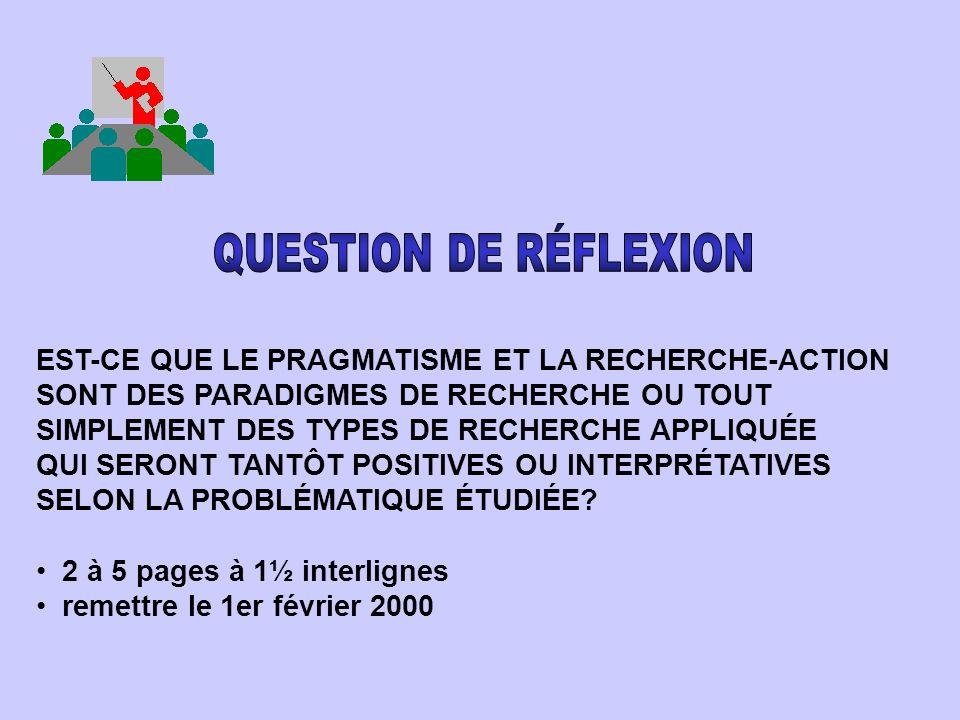 QUESTION DE RÉFLEXION EST-CE QUE LE PRAGMATISME ET LA RECHERCHE-ACTION