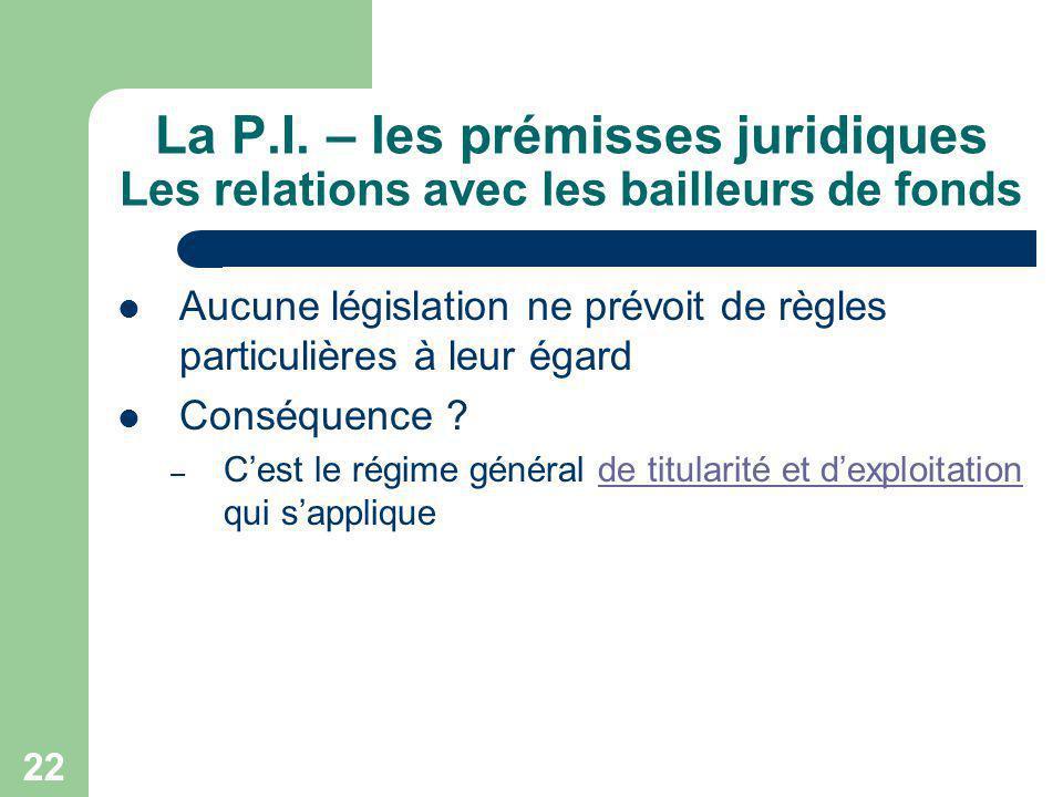 La P.I. – les prémisses juridiques Les relations avec les bailleurs de fonds