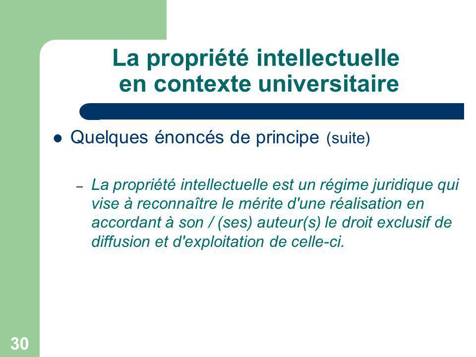 La propriété intellectuelle en contexte universitaire
