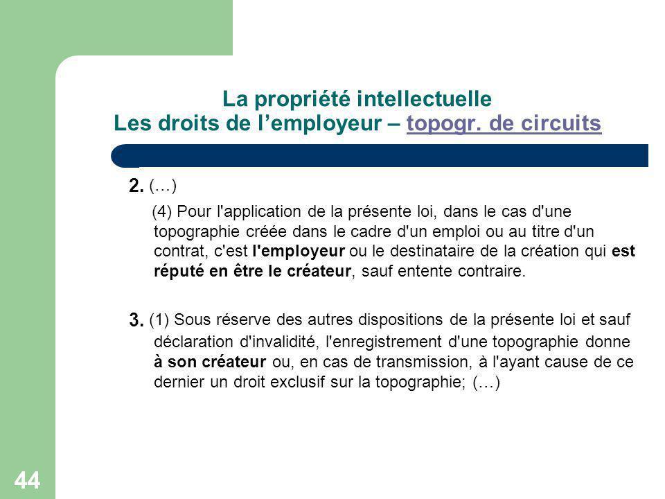 La propriété intellectuelle Les droits de l'employeur – topogr