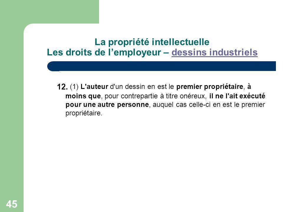 La propriété intellectuelle Les droits de l'employeur – dessins industriels
