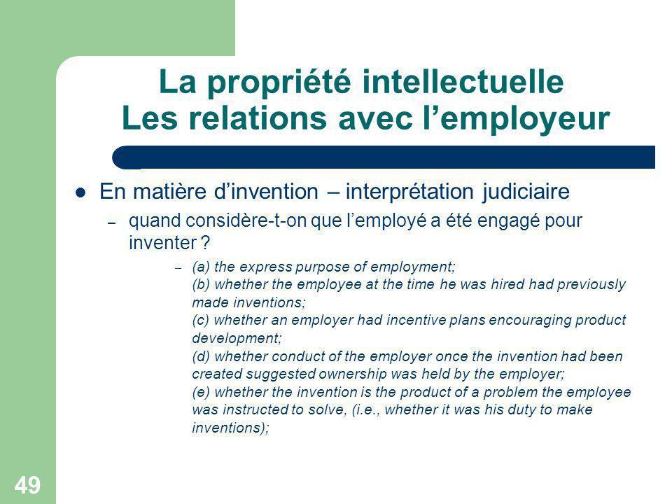 La propriété intellectuelle Les relations avec l'employeur
