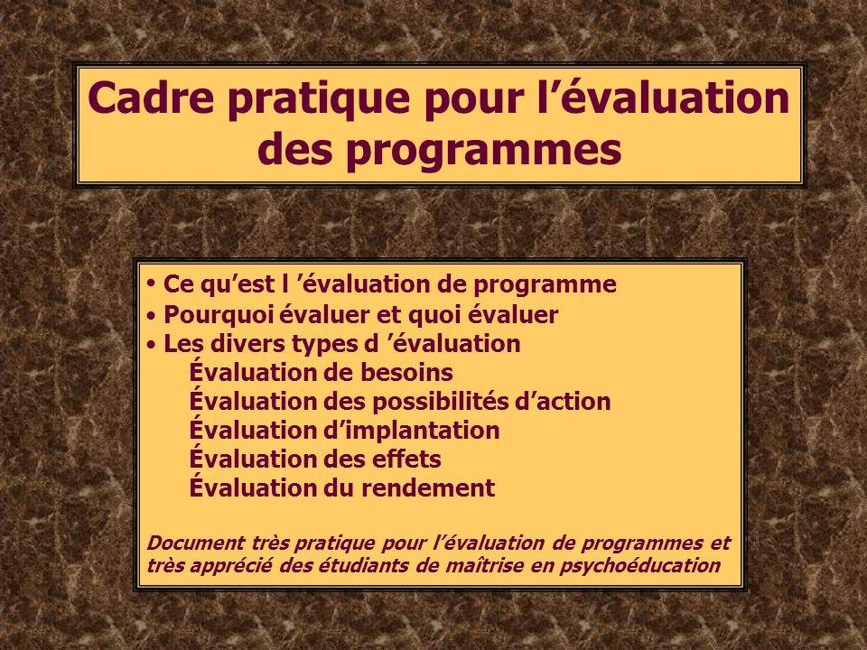Cadre pratique pour l'évaluation