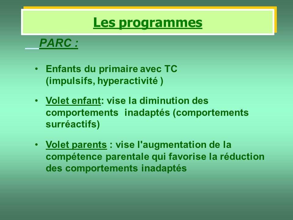 Les programmes PARC : Enfants du primaire avec TC (impulsifs, hyperactivité )