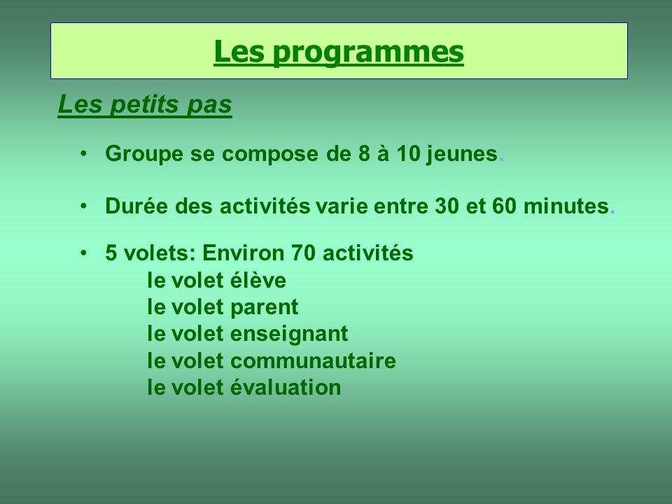 Les programmes Les petits pas Groupe se compose de 8 à 10 jeunes.