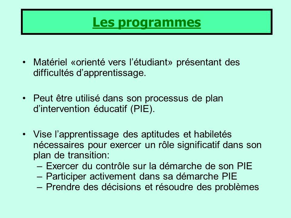 Les programmes Matériel «orienté vers l'étudiant» présentant des difficultés d'apprentissage.