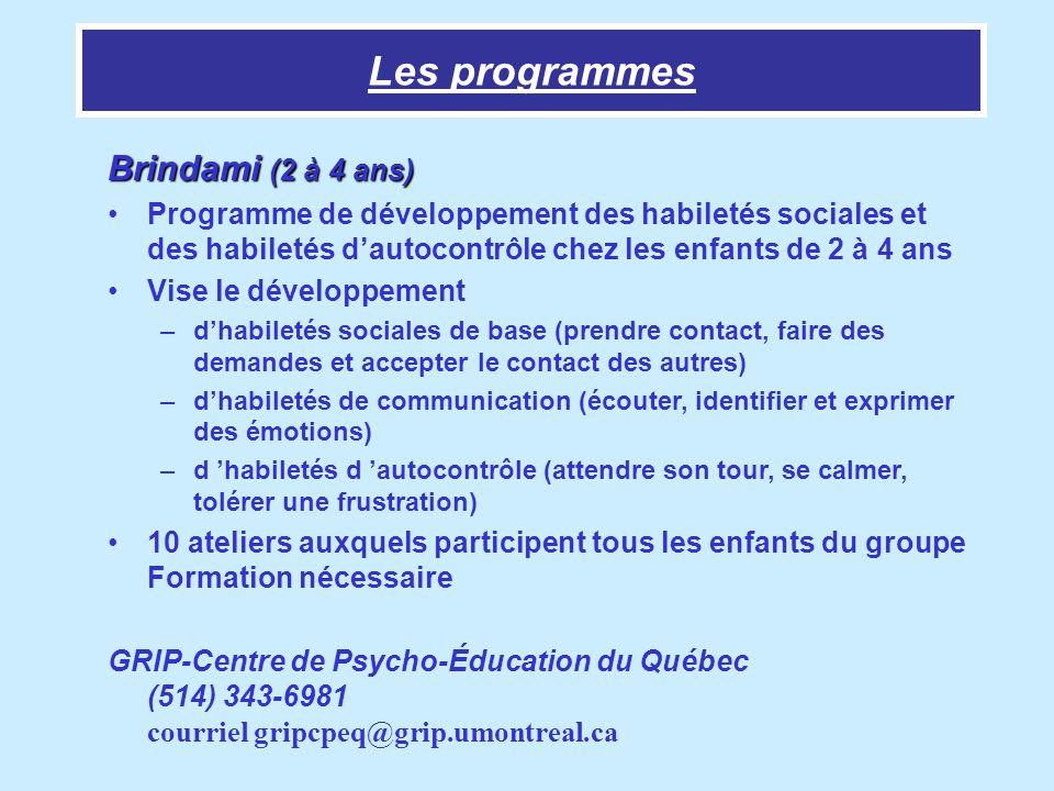 Les programmes Brindami (2 à 4 ans)
