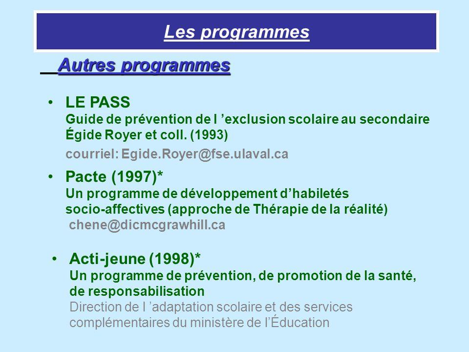 Les programmes Autres programmes