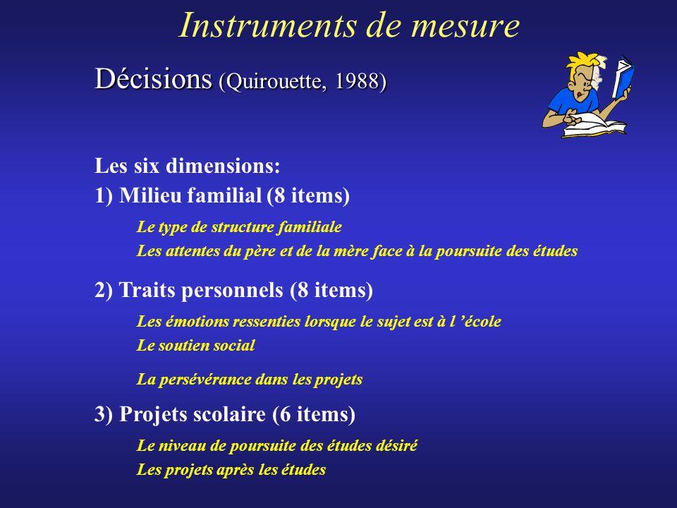 Instruments de mesure Décisions (Quirouette, 1988)