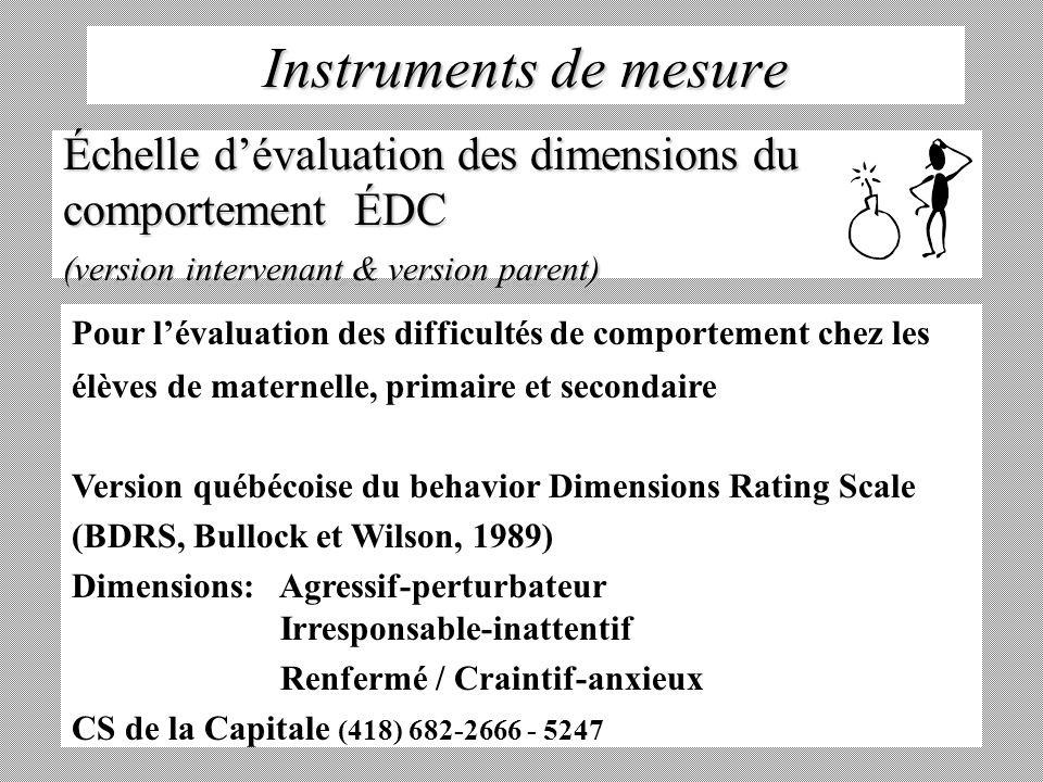 Instruments de mesure Échelle d'évaluation des dimensions du