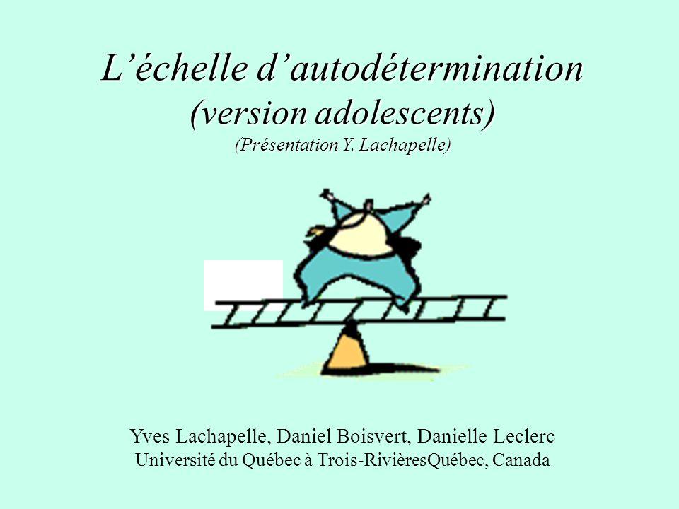 L'échelle d'autodétermination (version adolescents) (Présentation Y