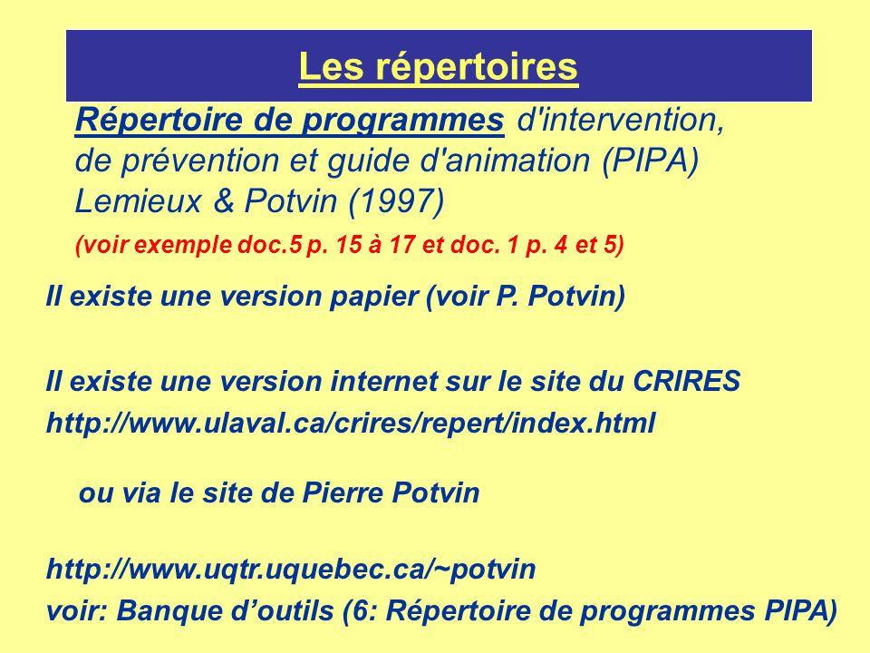 Les répertoires Répertoire de programmes d intervention,