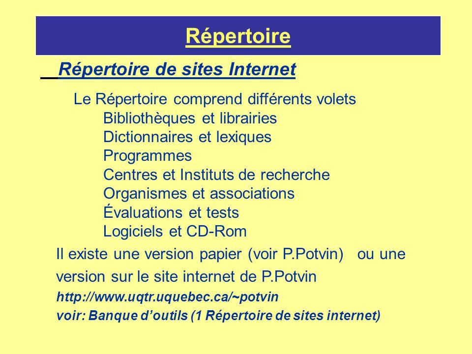 Répertoire Répertoire de sites Internet