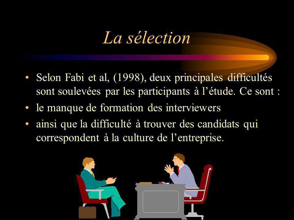 La sélection Selon Fabi et al, (1998), deux principales difficultés sont soulevées par les participants à l'étude. Ce sont :