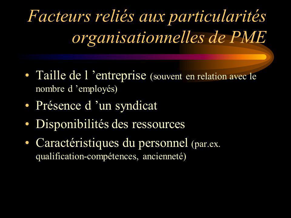 Facteurs reliés aux particularités organisationnelles de PME