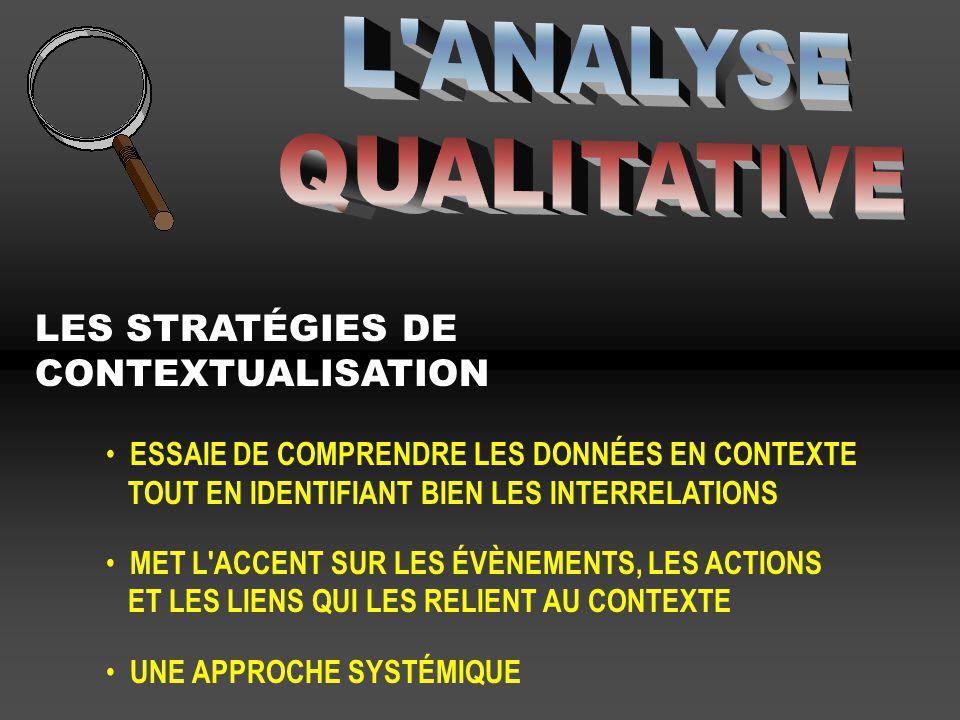 L ANALYSE QUALITATIVE LES STRATÉGIES DE CONTEXTUALISATION