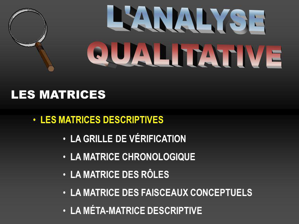 L ANALYSE QUALITATIVE LES MATRICES LES MATRICES DESCRIPTIVES