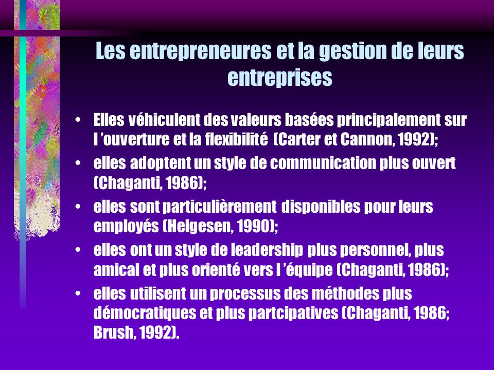 Les entrepreneures et la gestion de leurs entreprises