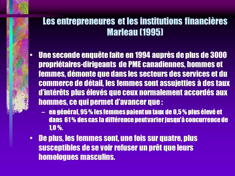 Les entrepreneures et les institutions financières Marleau (1995)