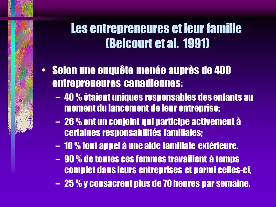 Les entrepreneures et leur famille (Belcourt et al. 1991)
