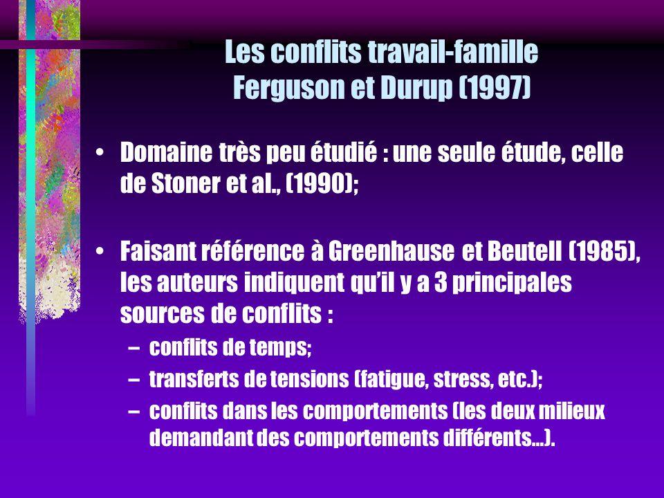 Les conflits travail-famille Ferguson et Durup (1997)