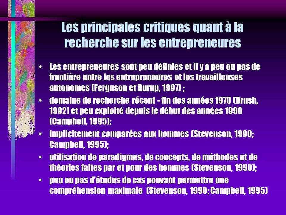 Les principales critiques quant à la recherche sur les entrepreneures