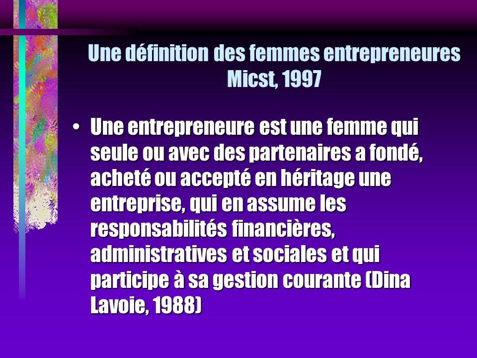 Une définition des femmes entrepreneures Micst, 1997