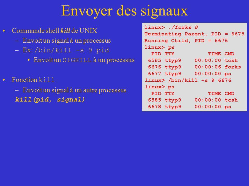 Envoyer des signaux Commande shell kill de UNIX