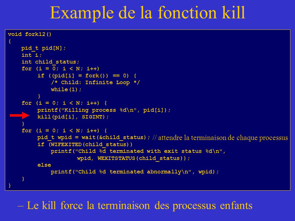 Example de la fonction kill