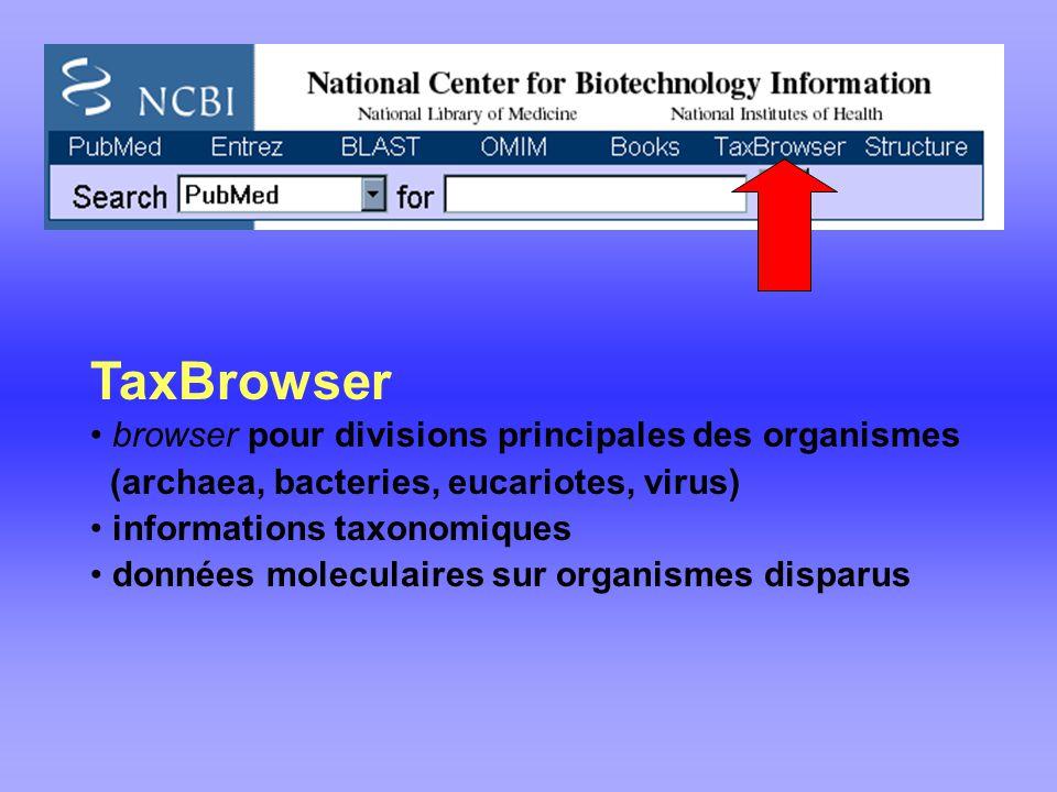 TaxBrowser browser pour divisions principales des organismes