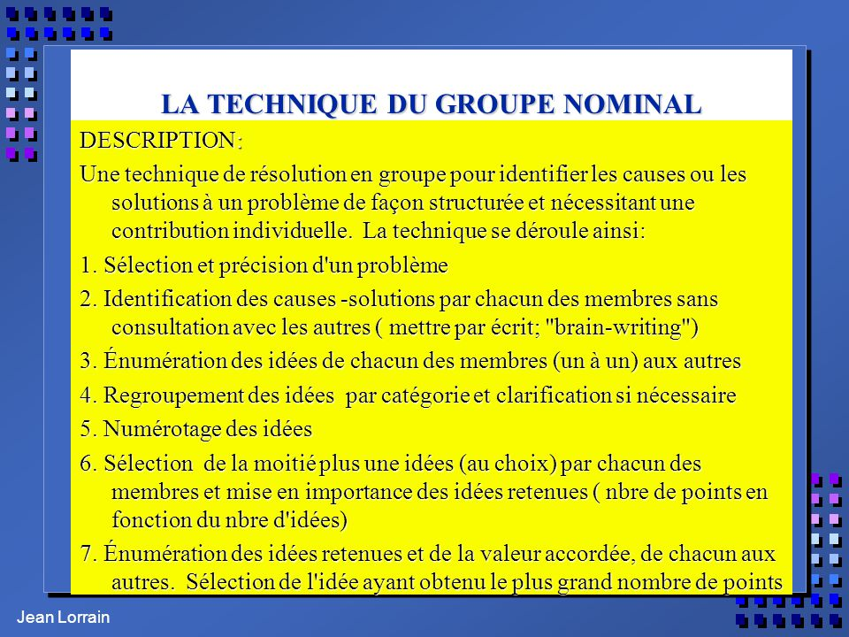 LA TECHNIQUE DU GROUPE NOMINAL