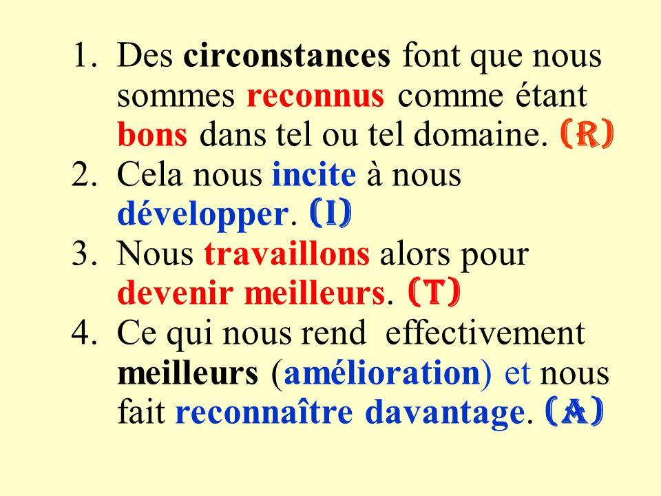 Des circonstances font que nous sommes reconnus comme étant bons dans tel ou tel domaine. (R)
