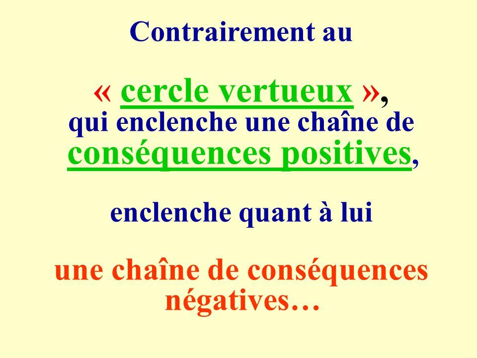 « cercle vertueux », une chaîne de conséquences négatives…