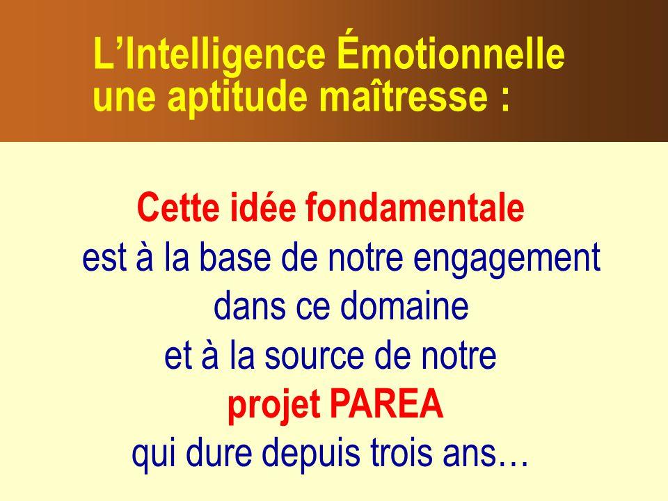 L'Intelligence Émotionnelle une aptitude maîtresse :
