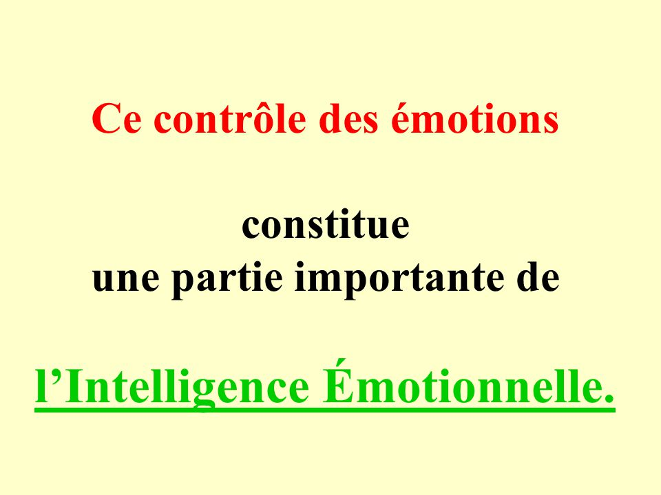 l'Intelligence Émotionnelle.